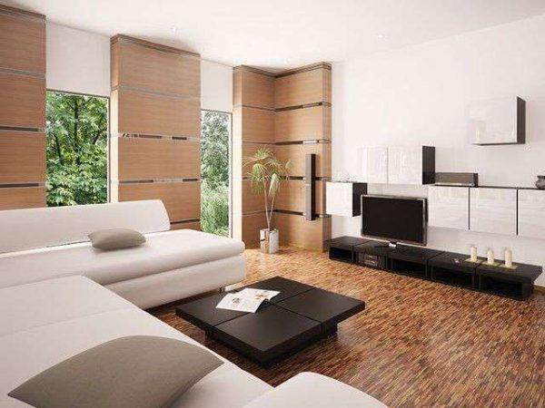 деревянная обшивка на стене гостиной в стиле минимализм