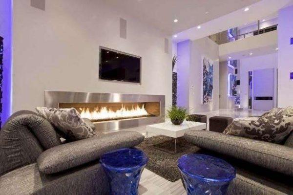 биокамин в гостиной в стиле минимализм