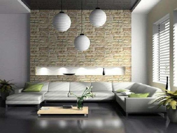 интерьер светлой гостиной в стиле минимализм