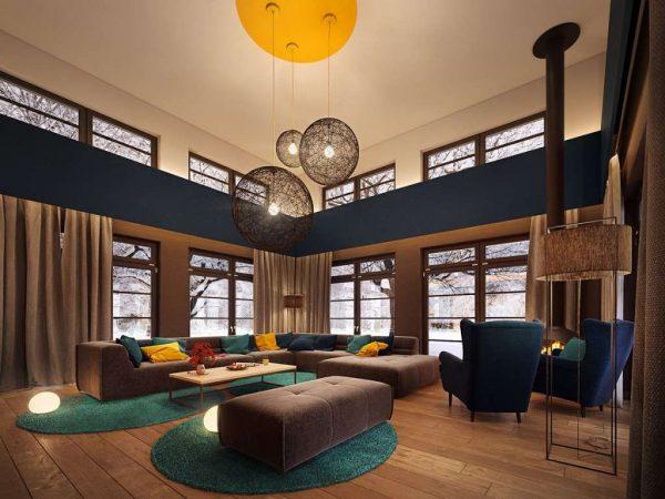 оформление стен в гостиной в стиле модерн