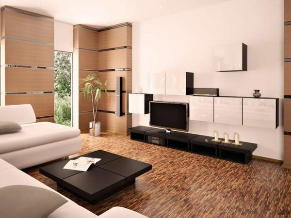 полы в интерьере гостиной в стиле модерн