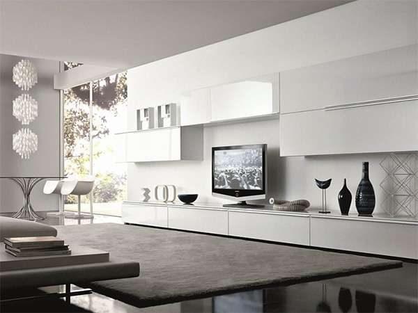 модульная стенка в интерьере гостиной в стиле модерн