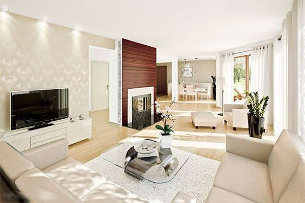 угловой диван в интерьере гостиной в стиле модерн