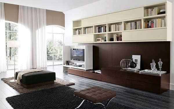 шоколадный цвет в интерьере гостиной в стиле модерн
