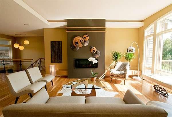 бежевый диван в интерьере гостиной в стиле модерн