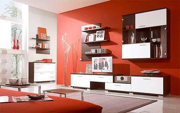 оранжевый в интерьере гостиной в стиле модерн