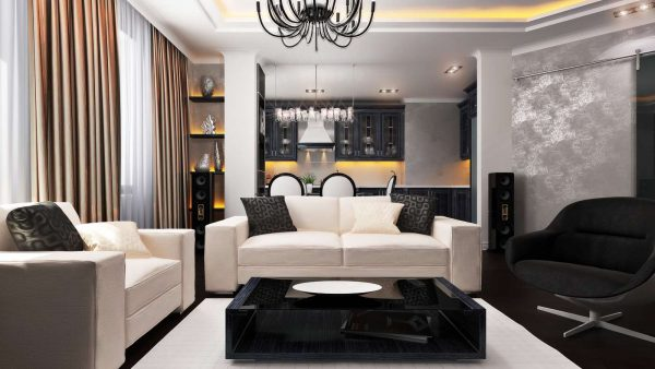 чёрно-белая гостиная в стиле модерн