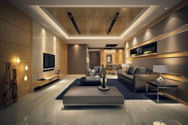 подсветка в интерьере гостиной в стиле модерн