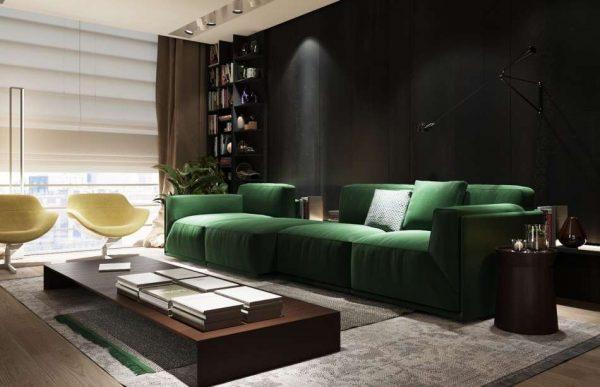 гостиная в стиле модерн с зелёным цветом