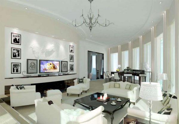 белая мебель в интерьере светлой гостиной