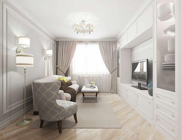белая модульная система в интерьере гостиной
