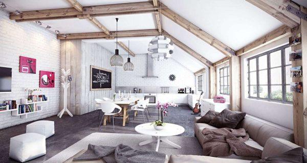 интерьер гостиной в светлых тонах с деревянными балками