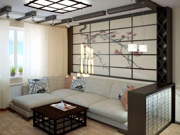 угловой диван в гостиной в японском стиле
