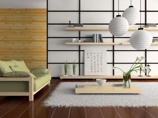 люстра шар в гостиной в японском стиле