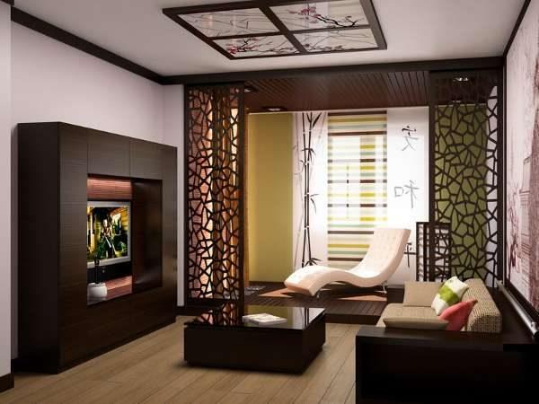 ширма в интерьере гостиной в японском стиле