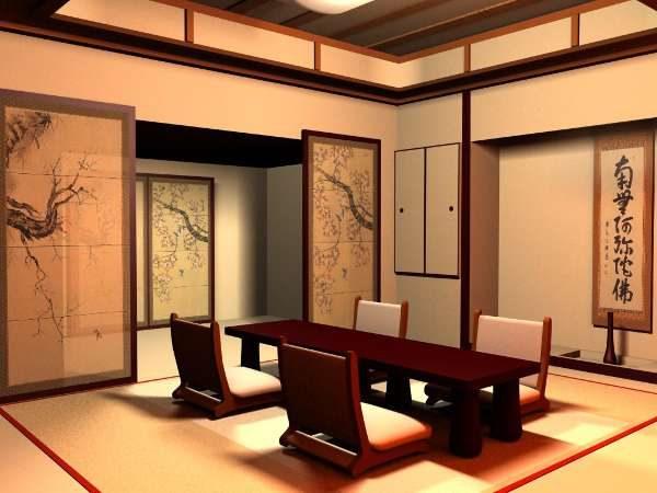 бамбуковые жалюзи в интерьере гостиной в японском стиле