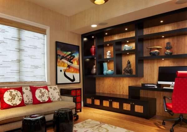 открытые полки в интерьере гостиной в японском стиле