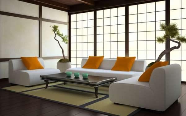 угловой диван в интерьере гостиной в японском стиле