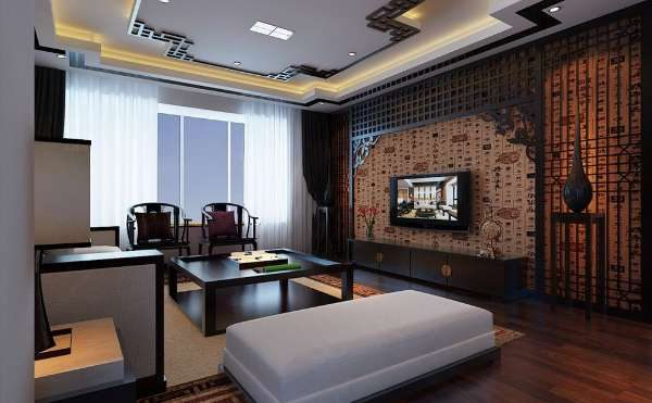 декор в интерьере гостиной в японском стиле