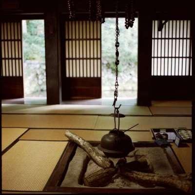 костёр в интерьере гостиной в японском стиле