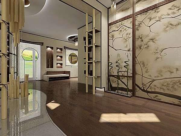 роскошная роспись настенная в интерьере гостиной в японском стиле