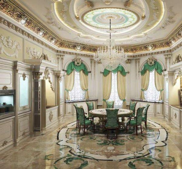 позолота барокко в гостиной частного дома