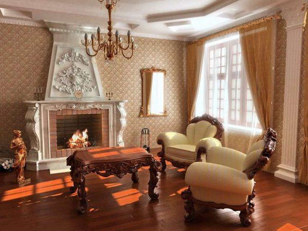 камин в интерьере гостиной в стиле барокко