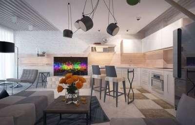 модерн в интерьере гостиной частного дома