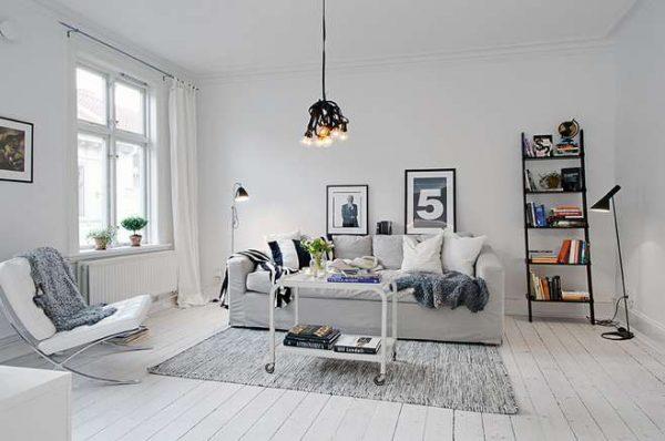скандинавский стиль в интерьере гостиной в современном стиле