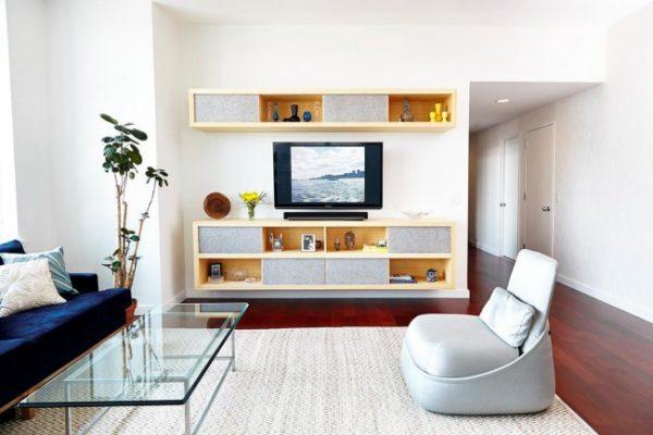 белый интерьер гостиной в современном стиле