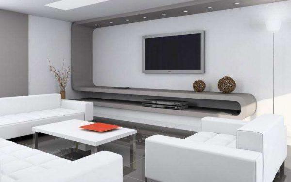 интерьер гостиной в современном стиле с белой мебелью