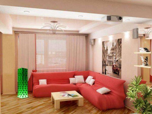 красный угловой диван в интерьере гостиной в современном стиле
