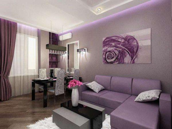 фиолетовый интерьер гостиной в современном стиле