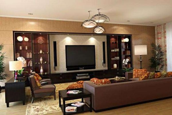 интерьер шоколадной гостиной в современном стиле