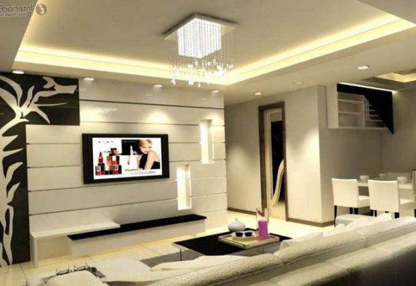 освещение в интерьере гостиной в современном стиле