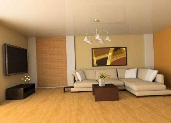 натяжной потолок в интерьере гостиной в современном стиле