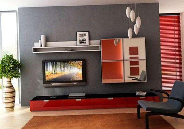 красно-серый интерьер гостиной в современном стиле