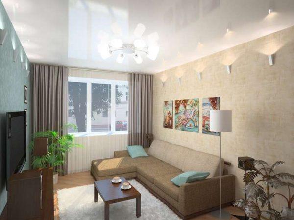 интерьер гостиной в современном стиле с натяжным потолком