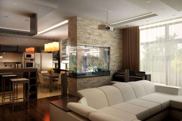Интерьер гостиной 18 кв м в хрущёвке со светлым диваном