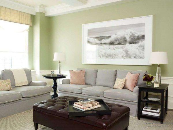 светло-зелёные стены в интерьере гостиной 18 кв м в хрущёвке