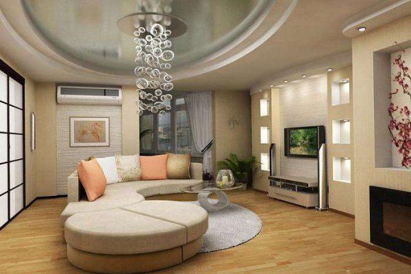 многоуровневый потолок из гипсокартона в интерьере гостиной 18 кв м в хрущёвке