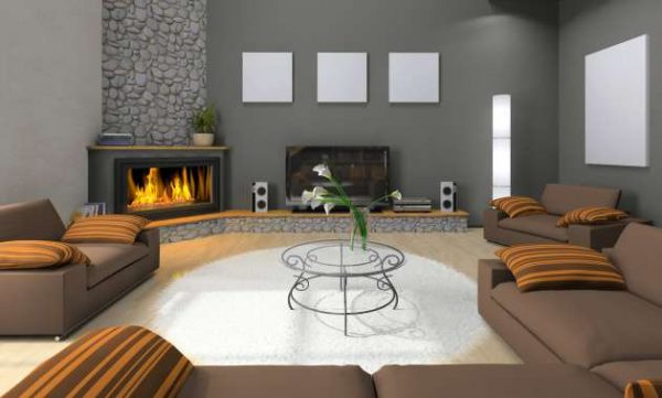 Дизайн гостиной с угловым камином