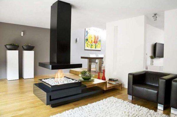 Дизайн гостиной с камином в центре комнаты