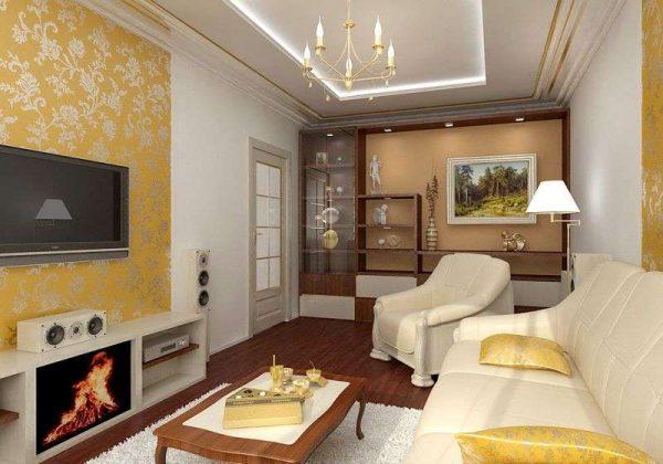 камины в интерьере гостиной с телевизором