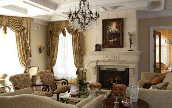 гостиная с камином в классическом стиле