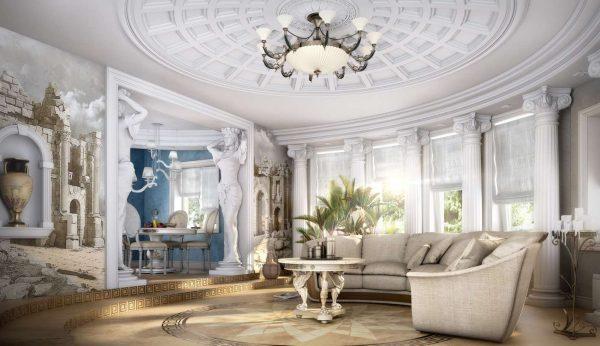 античный стиль в гостиной в классическом стиле