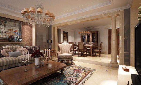 античный стиль с колонами в гостиной