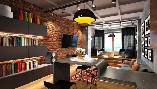 корпусная мебель в интерьер гостиной в стиле лофт