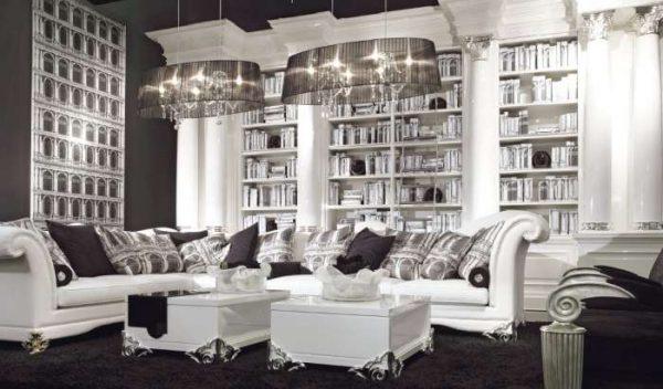 корпусная мебель в стиле арт-деко в гостиной