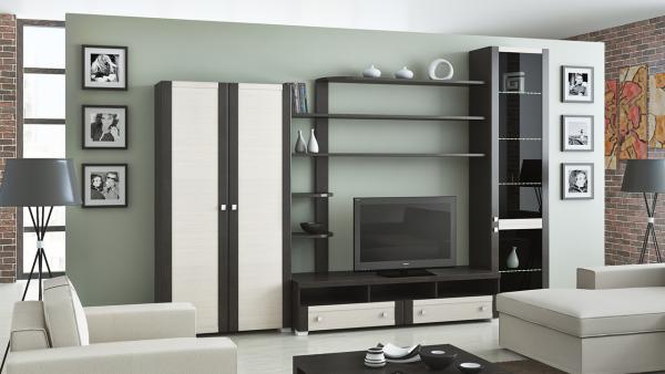 Корпусная мебель в интерьере гостиной в современном стиле
